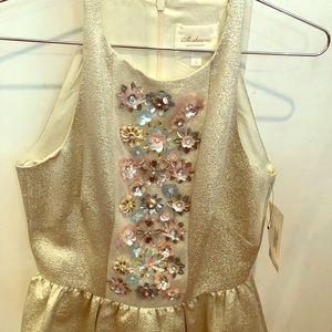 Shoshanna Midnight Shimmery gold beaded dress!